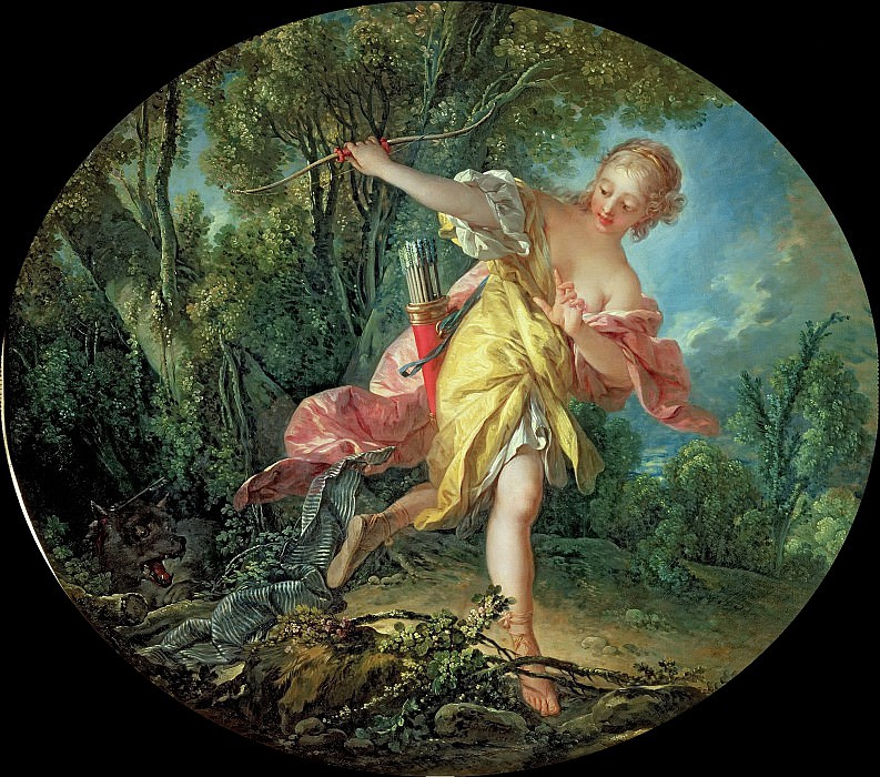 Rhea Sylvia fleeing from the Wolf. Francois Boucher