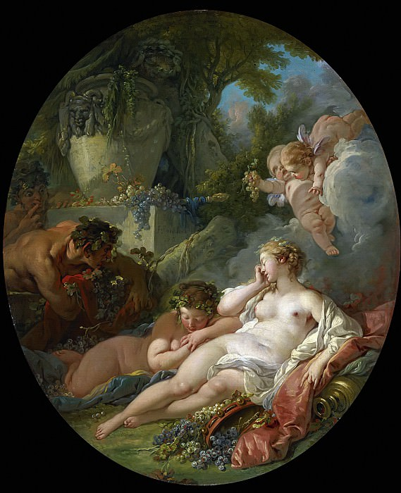 SLEEPING BACCHANTES SURPRISED BY SATYRS. Francois Boucher