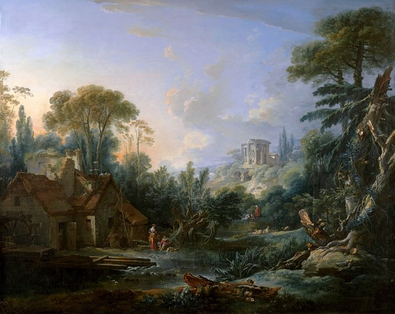 Landscape with a Water Mill. Francois Boucher