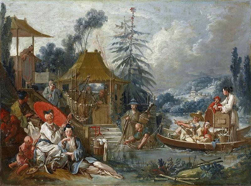 Картоны для гобеленов - Китайская рыбалка. Франсуа Буше