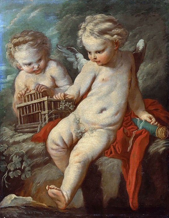 Two putti with an open bird-cage and a quiver. Francois Boucher