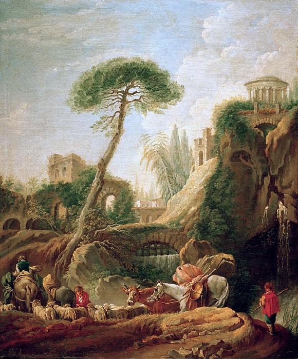 Phantastic landscape at Tivoli. Francois Boucher