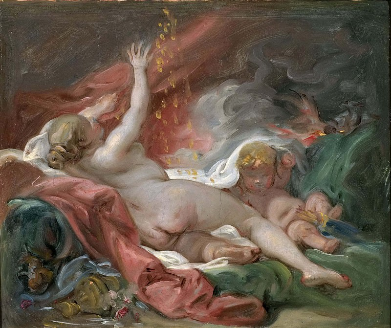 Danaë and the Shower of Gold. Study. Francois Boucher