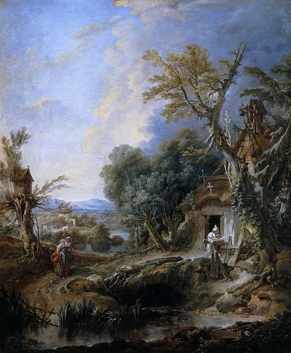 Landscape with Hermit, Frere Luce. Francois Boucher