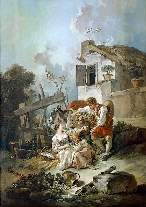 A man offering grapes to a girl. Francois Boucher