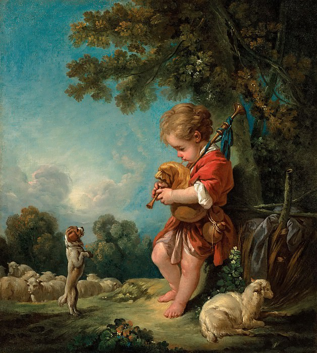 Cowherd playing the bagpipes. Francois Boucher