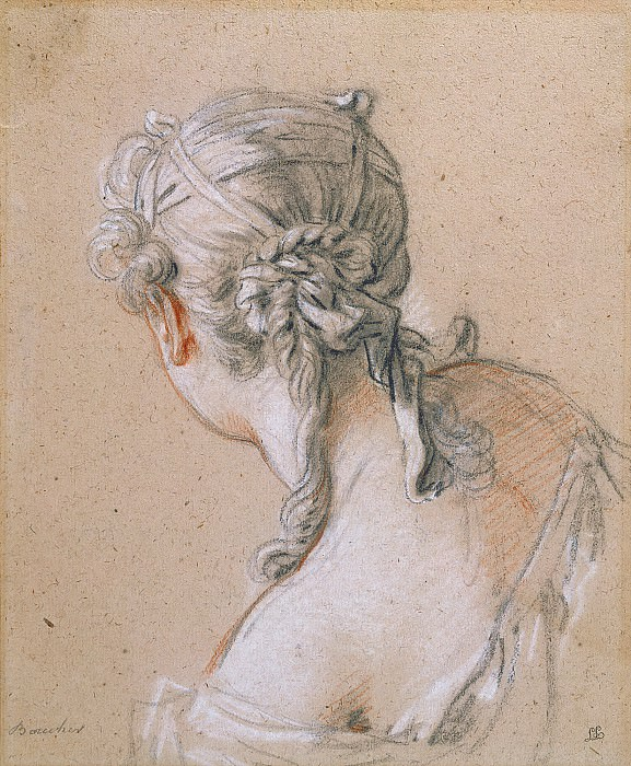 Head of a Girl from Behind. Francois Boucher