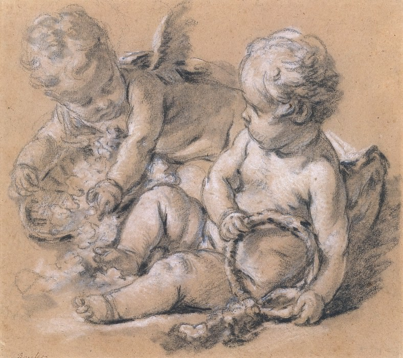 Putti with Flowers. Francois Boucher