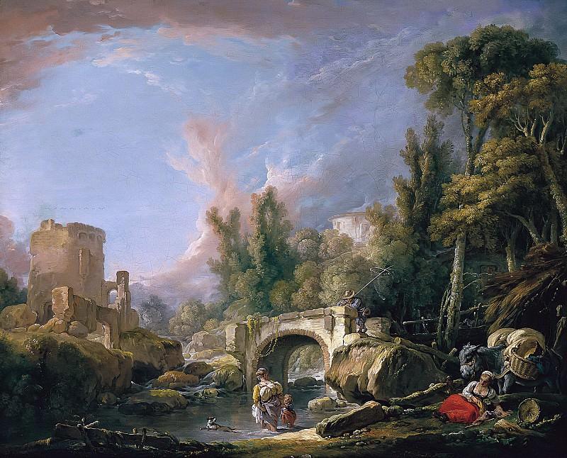 River landscape with ruins of the bridge. Francois Boucher