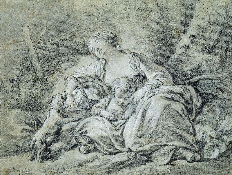 Young Mother at Rest. Francois Boucher