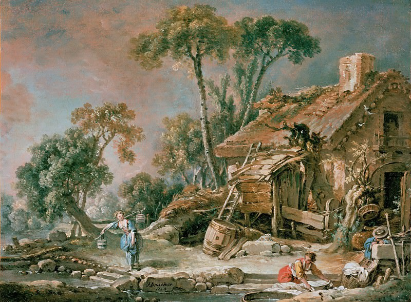 Landscape with farm house. Francois Boucher