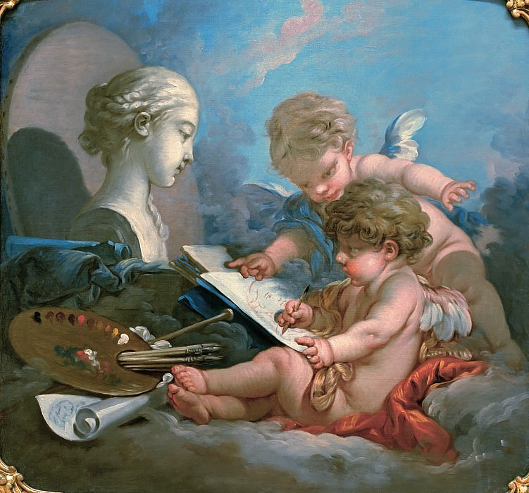 Cupids - Allegory of Painting. Francois Boucher