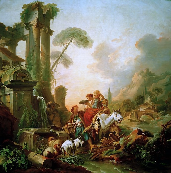 Rest by the fountain. Francois Boucher