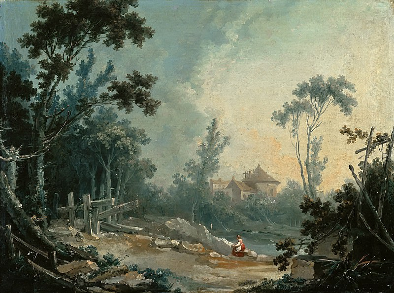 A Wooded Landscape with Buildings in the Distance. Francois Boucher