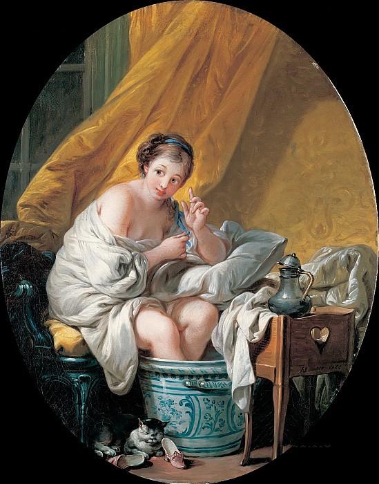 Молодая женщина, принимающая ванночку для ног. Франсуа Буше