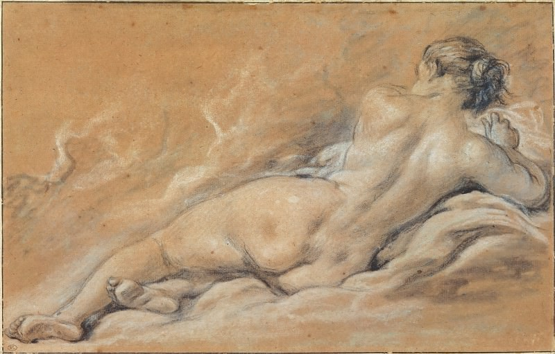Reclining nude woman seen from behind. Francois Boucher