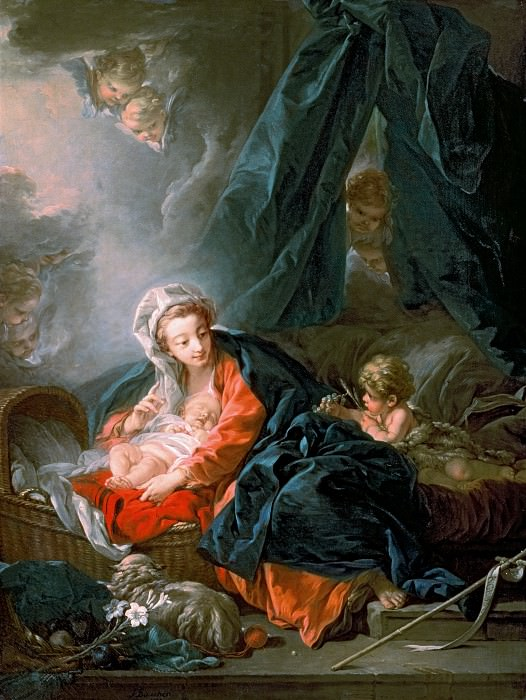 VIRGIN AND CHILD WITH THE LITTLE SAINT JOHN. Francois Boucher