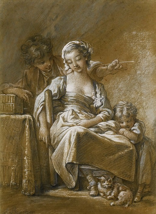 A Young Woman Asleep In A Chair Accompanied By A Small Child And A Cat, Being Tickled From Behind By A Young Man With A Straw. Francois Boucher