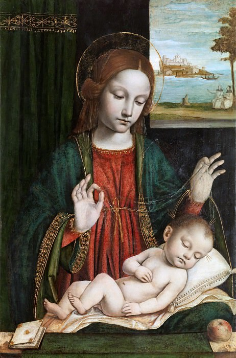 Мадонна со спящим Младенцем (Мадонна с вуалью). Бергоньоне (Амброджо да Фоссано)