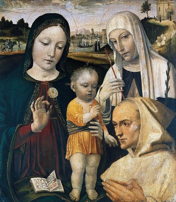 Мадонна с Младенцем со святой Екатериной и блаженным Стефано Макони. Бергоньоне (Амброджо да Фоссано)