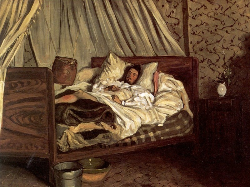 The improvised sickbed. Frederic Bazille