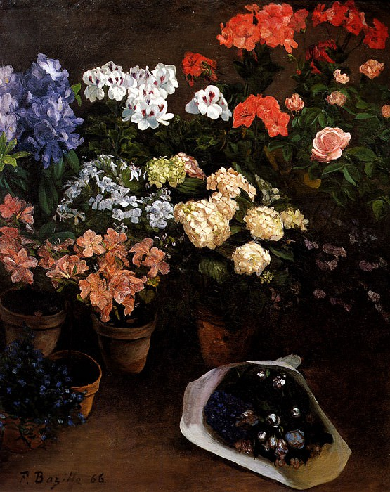 Study Of Flowers. Frederic Bazille