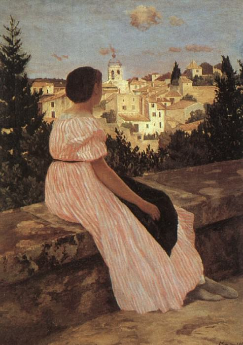 THE PINK DRESS VIEW OF CASTELNAU LE LEZ HERAUL. Frederic Bazille