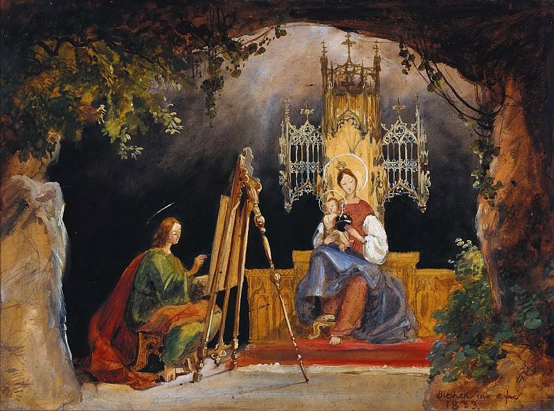 Saint Luke painting the Madonna. Carl Blechen