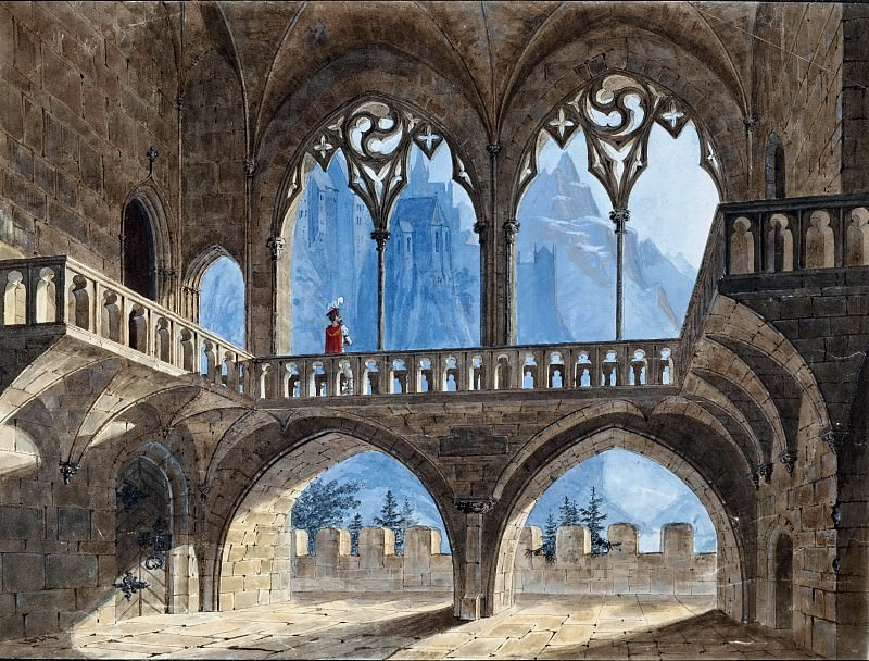 Gothic Hall with View of High Mountains. Carl Blechen
