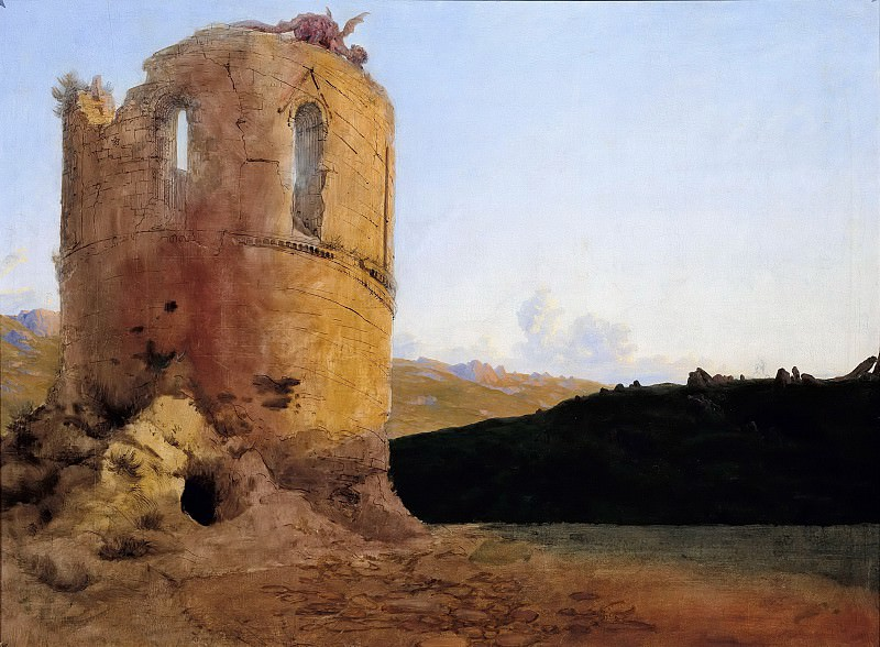 Ruins of a tower with dragon. Carl Blechen
