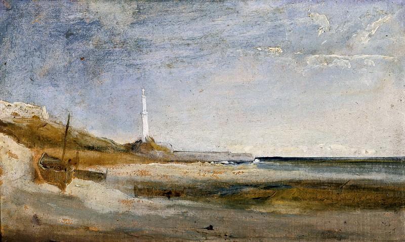 Лодки и маяк в Генуе. Карл Блехен