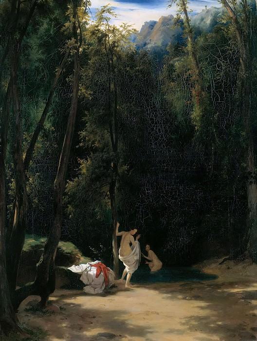 Park of Terni with bathing girl. Carl Blechen