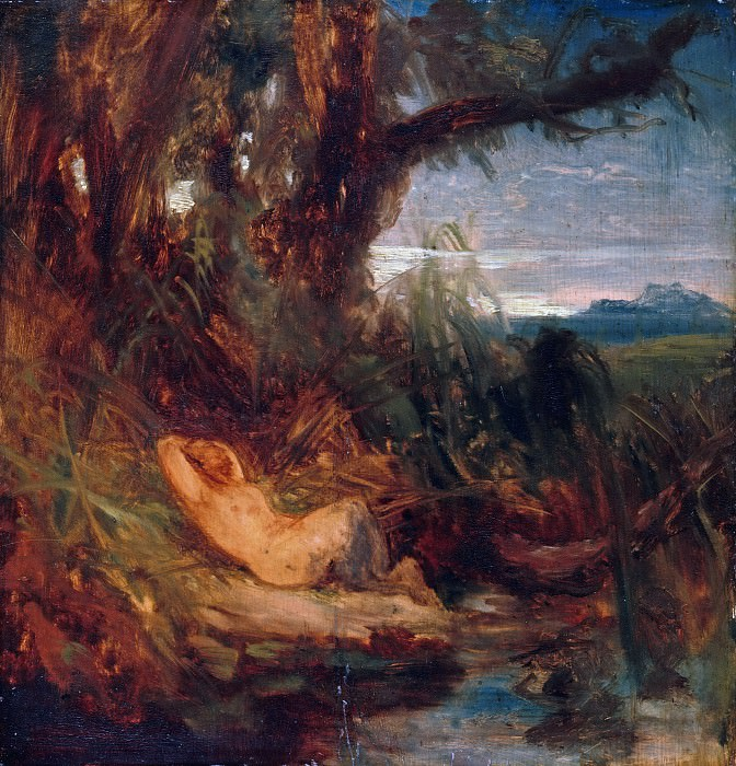 Sleeping Faun in the reeds. Carl Blechen