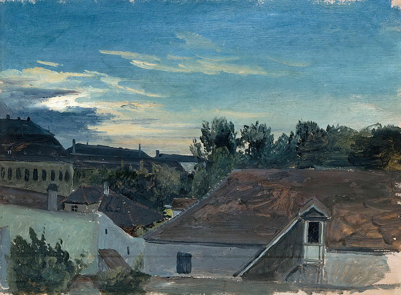 View over houses in the evening light. Carl Blechen