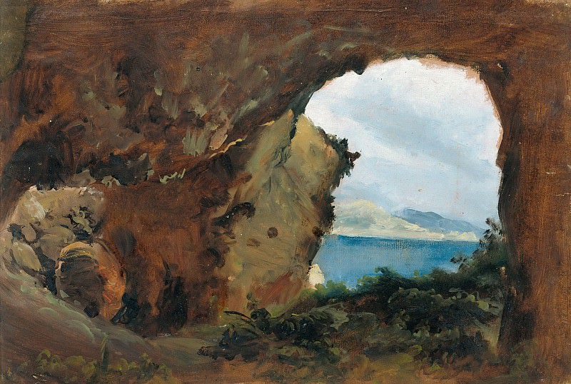 View from a Cave towards the Sea and Mountains. Carl Blechen