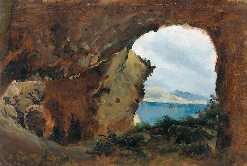 Вид на море и горы из пещеры. Карл Блехен