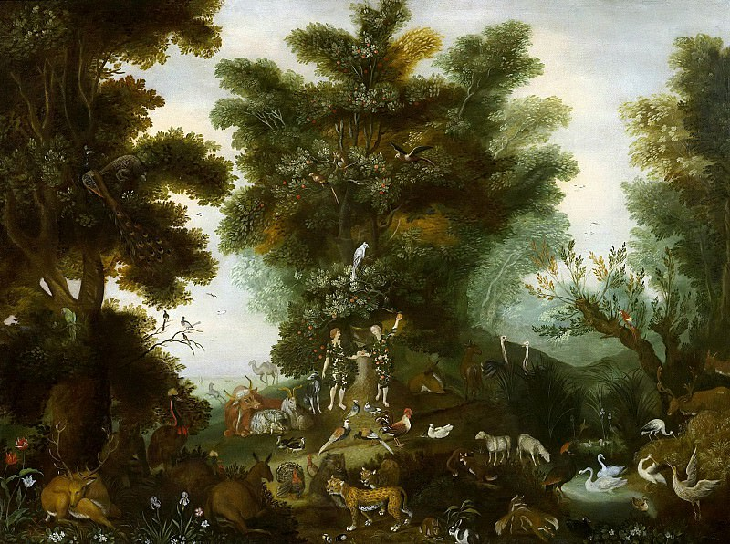 Paradise landscape with Adam and Eve. Jan Brueghel the Younger