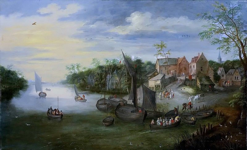 A river landscape with a view of the village. Jan Brueghel the Younger