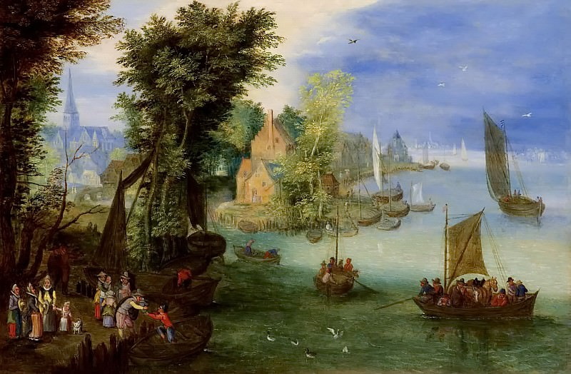 A river landscape. Jan Brueghel the Younger