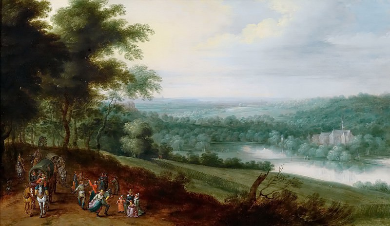 Landscape with dancing peasants and travelers. Jan Brueghel the Younger