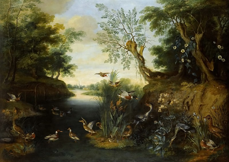 River landscape with birds. Jan Brueghel the Younger