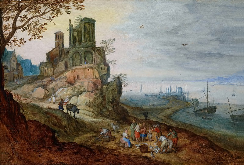 Port landscape with ruins. Jan Brueghel the Younger