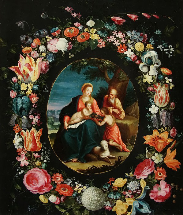 The Holy Family with John the Baptist in the floral garland. Jan Brueghel the Younger