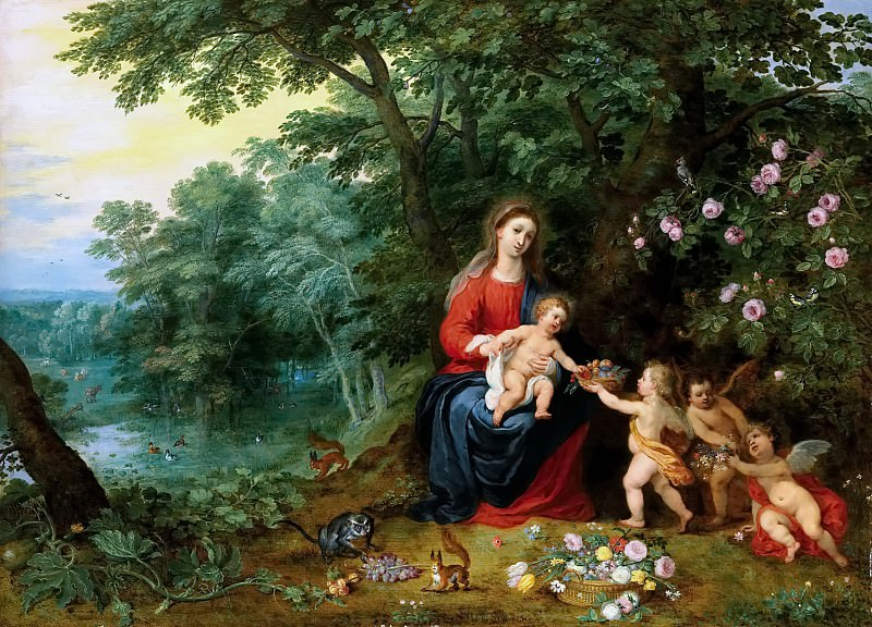 Madonna and Child in a Landscape putti (together with Hendrick van Balen). Jan Brueghel the Younger