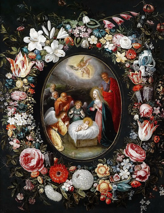 Nativity in a flower garland. Jan Brueghel the Younger