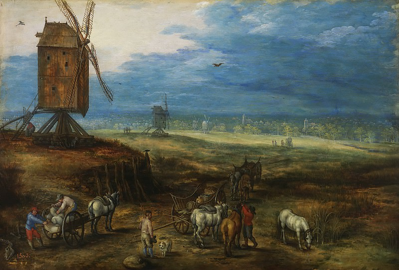 Landscape with windmills. Jan Brueghel the Younger