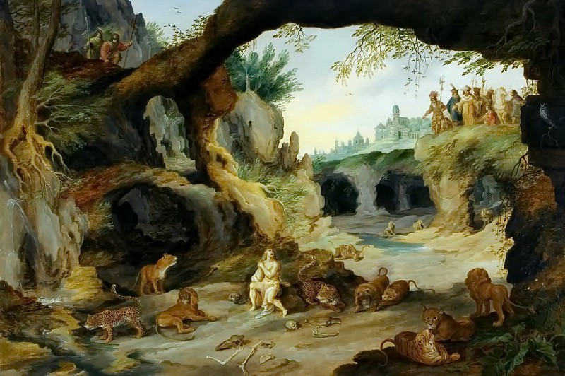 Daniel in the pit with predators. Jan Brueghel the Younger
