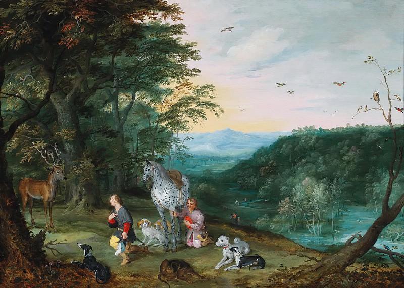 A landscape with Saint Hubert. Jan Brueghel the Younger