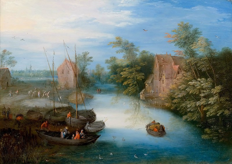 A river landscape with ferry boat and figures. Jan Brueghel the Younger