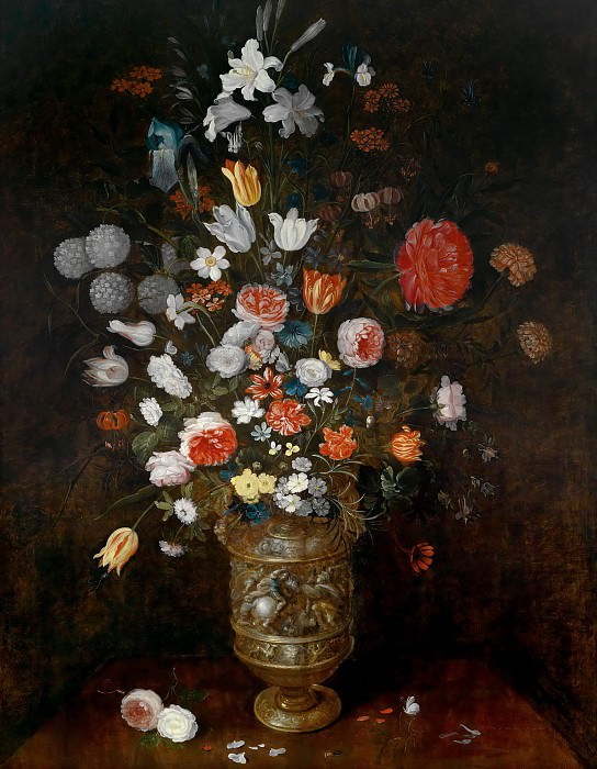 Flowers in a carved and gilded vase. Jan Brueghel the Younger